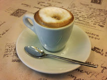 Espresso coffee with milk and brown sugar Stock Images