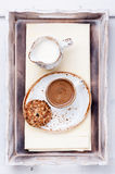 Espresso coffee with milk and oat cookies Royalty Free Stock Photos