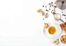 Espresso coffee, milk and sugar on white background. Top view of espresso coffee, milk and sugar on white background with space for text Stock Photos