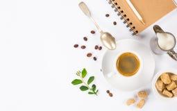 Espresso coffee, milk and sugar on white background. Top view of espresso coffee, milk and sugar on white background with space for text Stock Photo