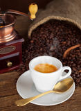 Espresso coffee with old coffee grinder Stock Image