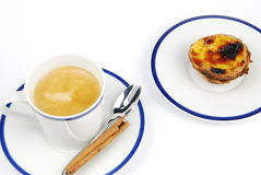 Espresso coffee and pastel de nata Royalty Free Stock Photos