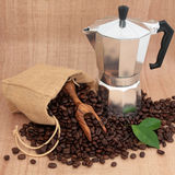 Coffee Maker and Beans Stock Images