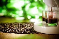 Espresso coffee. Prepares hot espresso coffee drink royalty free stock image