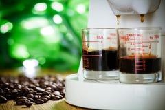 Espresso coffee. Prepares hot espresso coffee drink royalty free stock photo