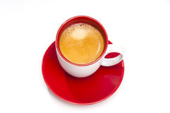 Espresso coffee in red and white cup from the top Royalty Free Stock Photos
