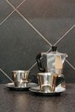 Espresso coffee set. On the stone kitchen counter stock image
