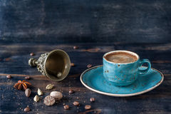 Espresso coffee and spices Royalty Free Stock Photo