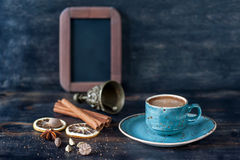 Espresso coffee and spices on a vintage wooden background Royalty Free Stock Photography