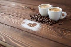 Espresso coffee with sugar powdered heart Stock Photos