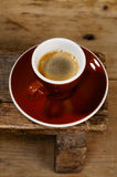 Espresso coffee in thick brown cup Royalty Free Stock Image