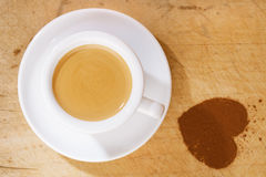 Espresso coffee in thick white cup Stock Images