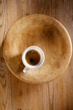 Espresso coffee in thick white cup on old wood Royalty Free Stock Photography