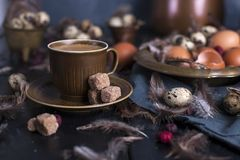 Espresso coffee and a vintage coffee pot and brown sugar royalty free stock photography