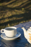 Espresso coffee and vintage coffee pot Royalty Free Stock Image