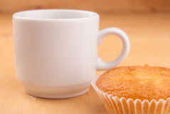 Espresso coffee in a white china cup over wood Royalty Free Stock Photography