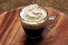 Espresso coffee with white cream Stock Photos