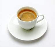 Espresso coffee in white cup Stock Photography