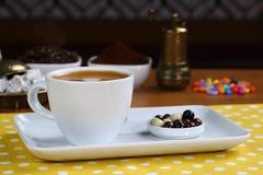Cafe Espresso. Espresso coffee in white cup royalty free stock photo