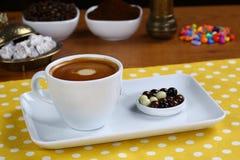 Cafe Espresso. Espresso coffee in white cup stock images