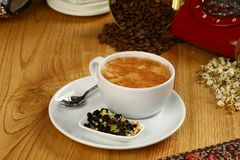 Cup of coffee. Espresso coffee in white cup stock images