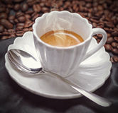Espresso coffee in a white cup Royalty Free Stock Photo
