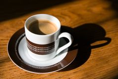 Espresso coffee on a wooden table Royalty Free Stock Photo