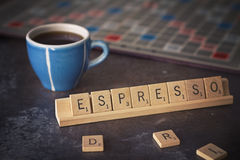 Espresso coffee word game with cup Stock Image