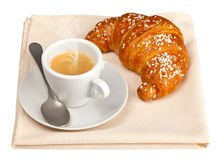 Espresso with croissant Royalty Free Stock Photos