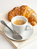 Espresso with croissant Stock Photography