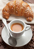 Espresso with croissant Royalty Free Stock Images