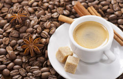 Espresso cup. Espresso with coffee beans and spice royalty free stock image