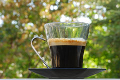 Espresso Cup. Hot espresso with froth in a glass cup on a black plate against blurry background Royalty Free Stock Images
