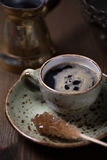 Espresso cup with brown sugar.  royalty free stock images