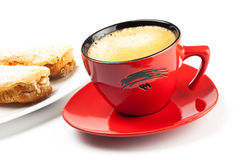 Espresso cup and cake Stock Images