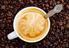 Espresso cup in coffee beans Royalty Free Stock Photos