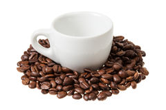 Espresso cup with coffee beans Royalty Free Stock Photos
