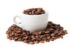 Espresso cup with coffee beans Stock Photography