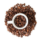 Espresso cup with coffee beans Royalty Free Stock Photo