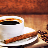 Espresso Cup of Coffee with roasted coffee royalty free stock image