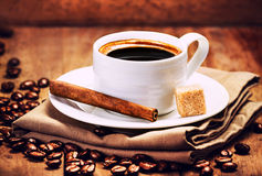 Espresso Cup of Coffee with roasted coffee beans Royalty Free Stock Photo