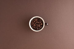 Espresso cup filled with coffee beans Royalty Free Stock Photography