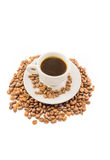 Espresso cup with grains Stock Photography