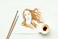 Espresso cup with hand drawing birth of Venus. Minimal, coffee art or creative concept. Top view stock photos