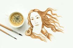 Espresso cup with hand drawing birth of Venus. Minimal, coffee art or creative concept. Top view stock illustration