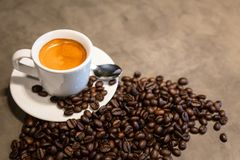 Espresso in a cup of hot coffee and coffee beans on concrete polishing floors cement background in loft style in a cafe shop, royalty free stock photography