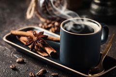 Espresso cup of hot coffee Stock Photography