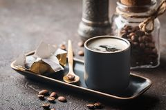 Espresso cup of hot coffee Stock Images