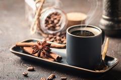 Espresso cup of hot coffee Stock Photos