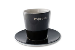 Espresso cup and plate isolated Stock Images